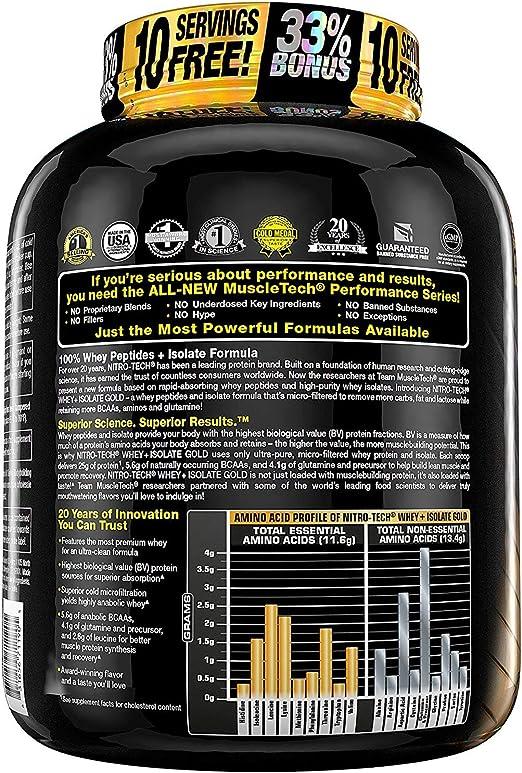 Muscletech Nitro Tech Whey Plus Isolate Gold Suplemento de Proteínas Double Rich Chocolate - 1810 gr