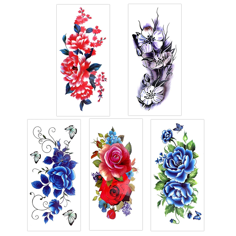 Konsait 14 hojas temporales tatuajes para adultos mujer niños, Rose Lotus flores Tatuajes Temporales Flash tatuaje falso Tatuajes Adhesivos pegatinas de ...