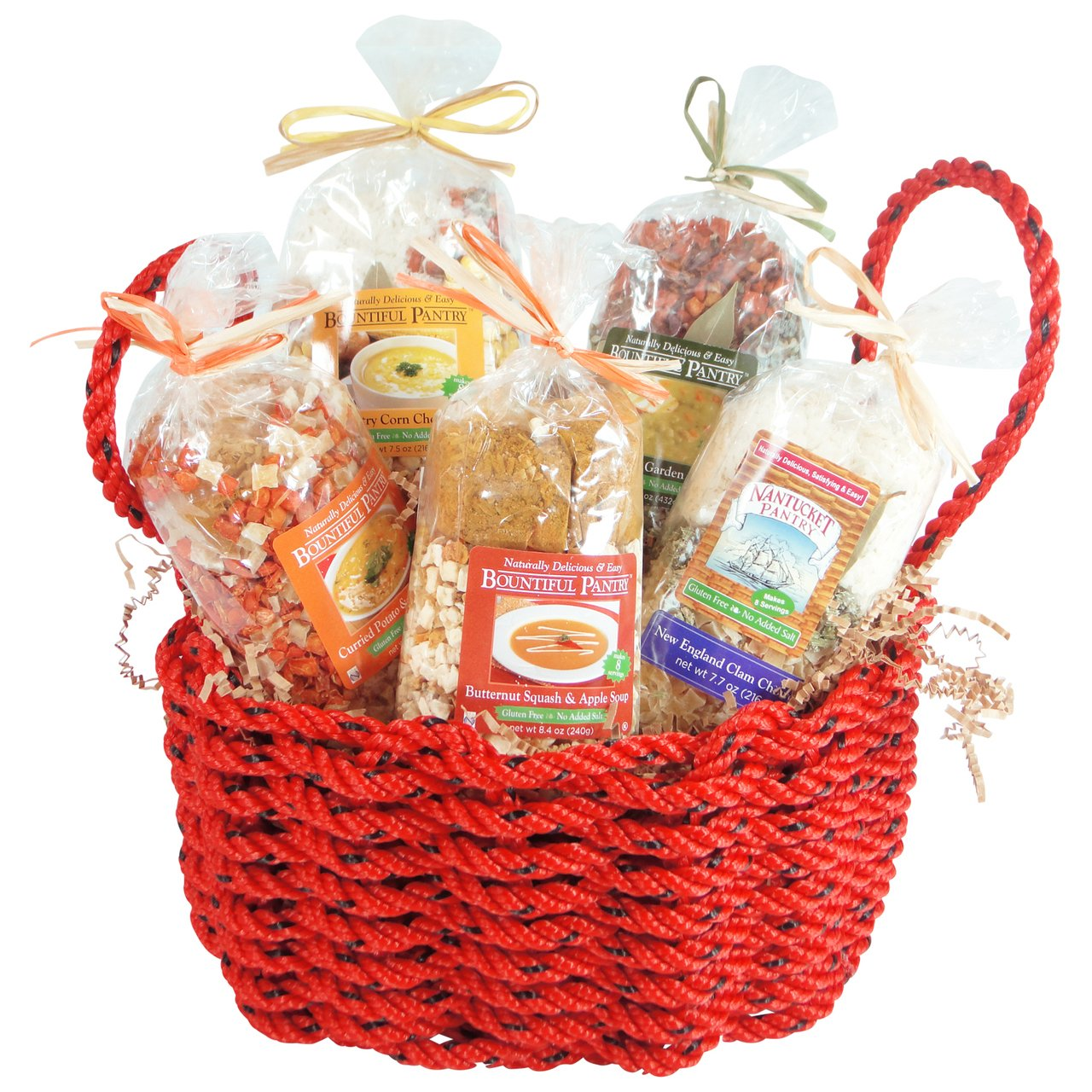 New England Chowder Mixes in a Maine Made Lobster Rope Gift Basket by The New England Trading Company (Image #1)