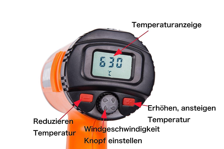 1800 Watt 50/° C bis 630/° C Inkl Idealer Hei/ßluftf/ön zum Verformen L/öten Schwei/ßen vielseitig einsetzbarem Vorsatzd/üsen-Set AIKOU Hei/ßluftgebl/äse LCD-Display mit Resthitzeanzeige