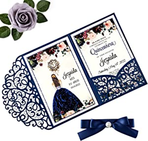 Doris Home 4.7 x7 inch 50PCS Blank Navy Blue Quinceanera Invitations Kit Laser Cut Hollow Rose Pocket Quinceanera Invitation Cards with Envelopes for Quincenera Birthday quinceanera Invite