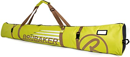 BRUBAKER Ski Bag Carver Champion for 1 Pair of Ski and Poles Padded Limited Edition Resistant