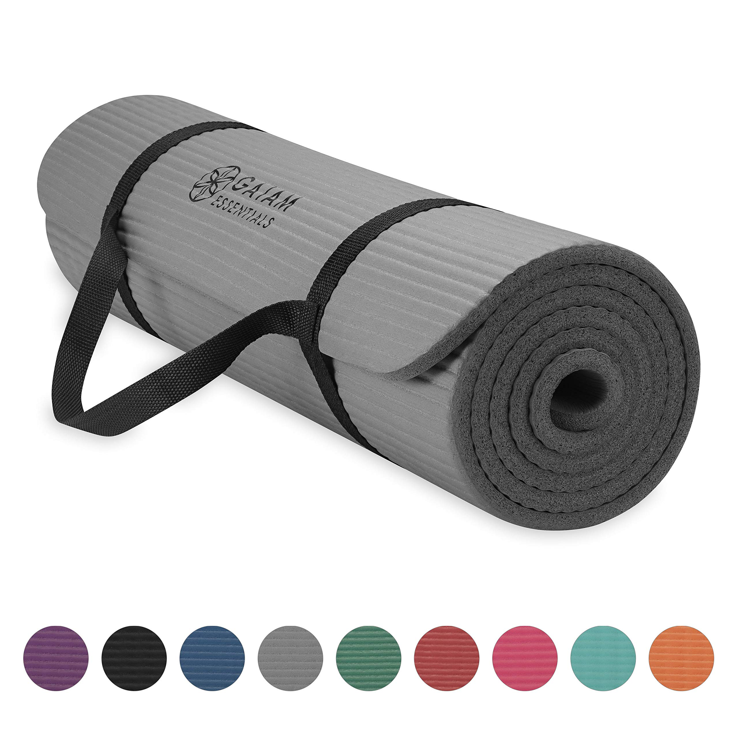 Gaiam Essentials Thick Yoga Mat Fitness & Exercise Mat with Easy-Cinch Yoga Mat Carrier Strap, Grey, 72''L x 24''W x 2/5 Inch Thick