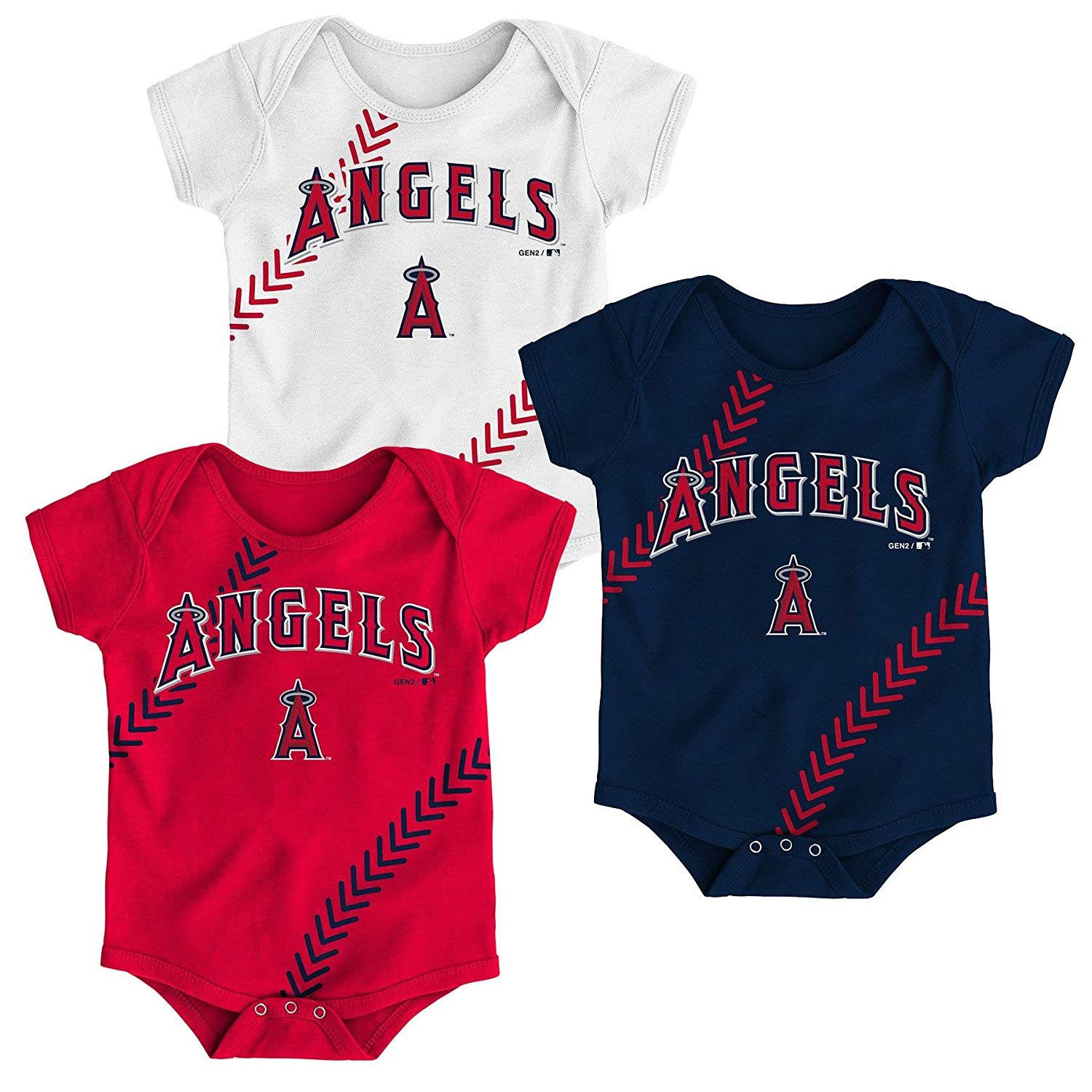 Outerstuff Los Angeles Angels Newborn Infants Fantastic 3 Piece Bodysuit Creeper Set
