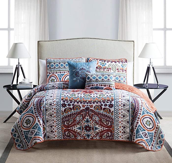 VCNY Home Collection VCNY 5 Piece Natasha Quilt Set, King, Multicolor, Multi