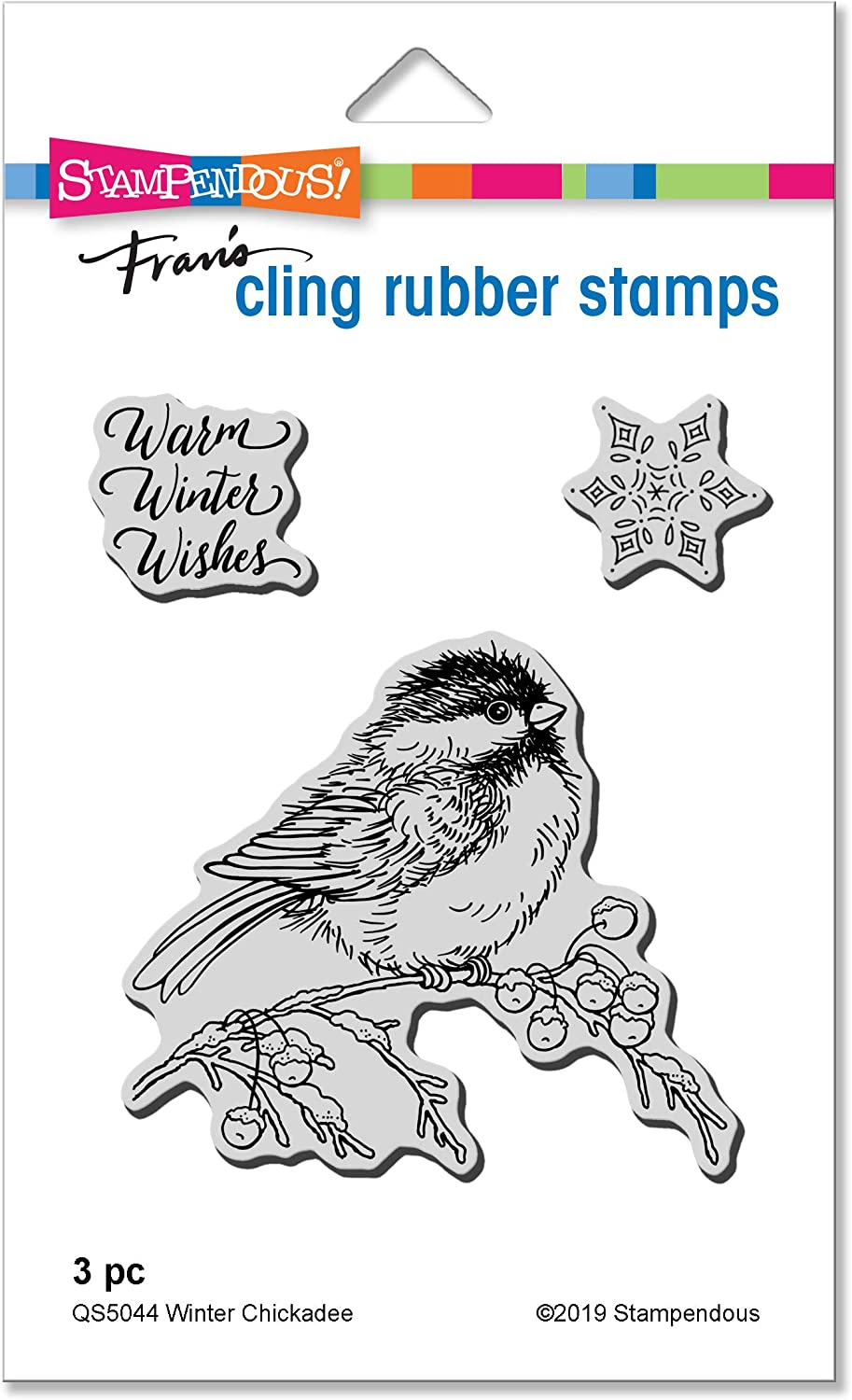 Stampendous QS5044 Winter Chickadee Cling Stamp Set Rubber