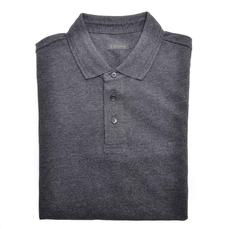 e1523ccad46f7 Z Zegna Men Long Sleeve Pique Cotton Polo Shirt Dark Grey: Ermenegildo Zegna:  Amazon.co.uk: Clothing