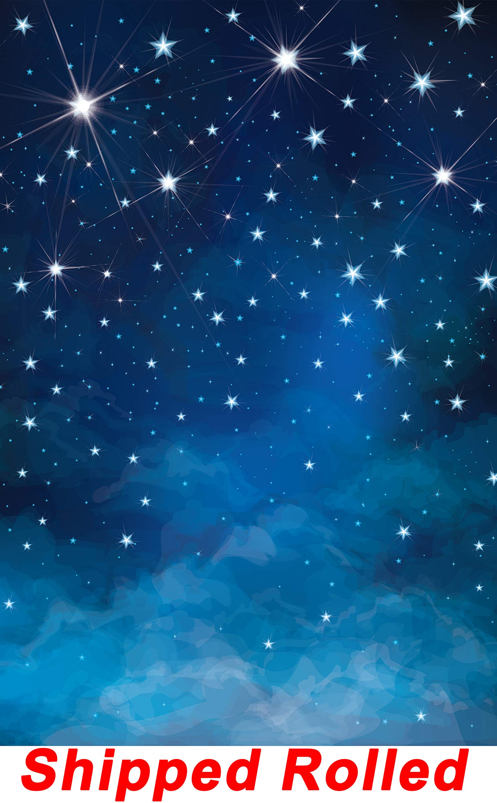 Blue Star Sky Backdrop Vintage Retro Dark Shiny Stars Sky Chic Galaxy Astronomy Star war Inspired Printed Canvas Photography Background (G1651, 8' Wide by 12' Tall)