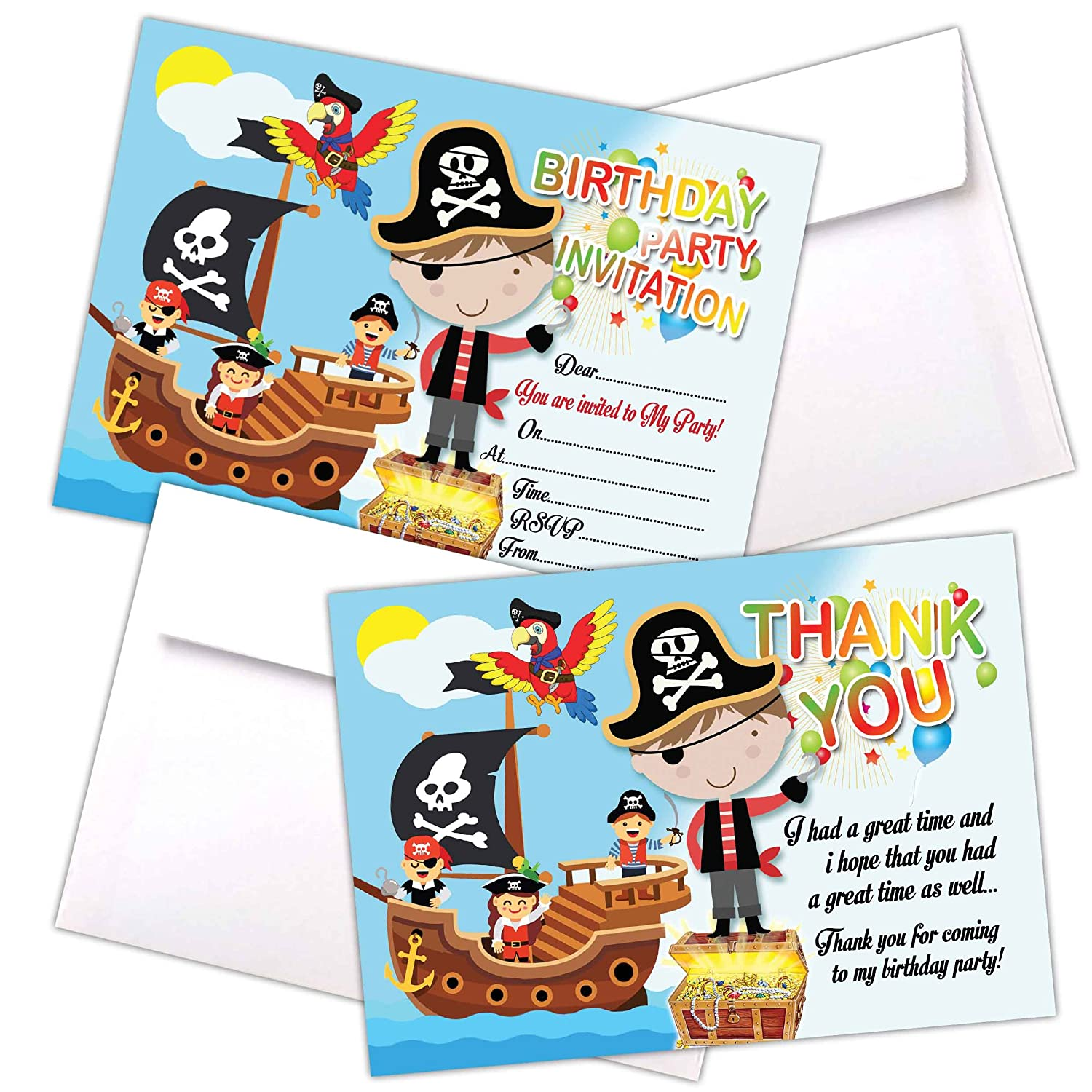 20 x Pirates   Boys Kids Birthday Party Invitations   Invites Cards   Boys Children Party Cards   with C6 Envelopes Option   With Thank You Cards Option (Only Invites) Eli Belinde