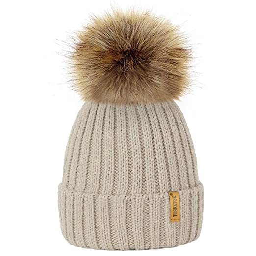 c4efe1c8144 Image Unavailable. Image not available for. Color  TOSKATOKWomens Winter Rib  Knitted Hat Beanie with Detachable Chunky Faux Fur Bobble Pom ...