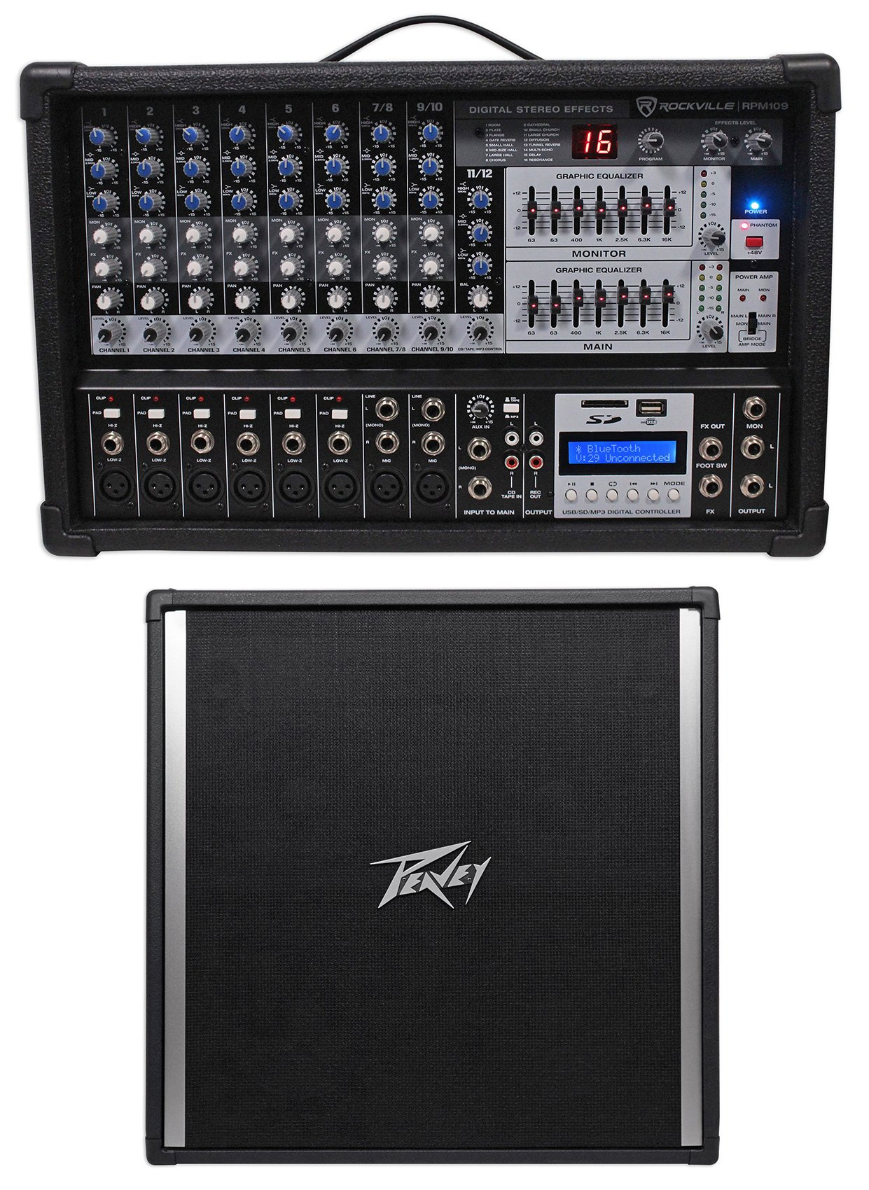 Rockville RPM109 12-Ch 4800w Powered Mixer + (4) 10'' 3200 Watt Peavey Speakers