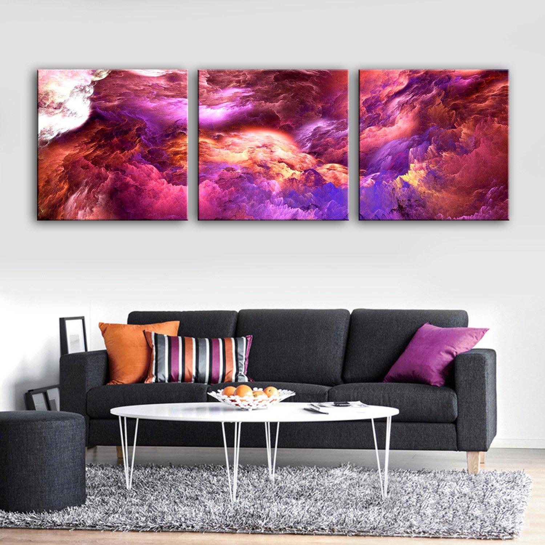 RUNDESHEBEI Y&M 3PCS ausgedehnte Segeltuch-Kunst-purpurrote Wolken-Wunder-Dekoration-Malerei eingestellt, 50  50cm3pc