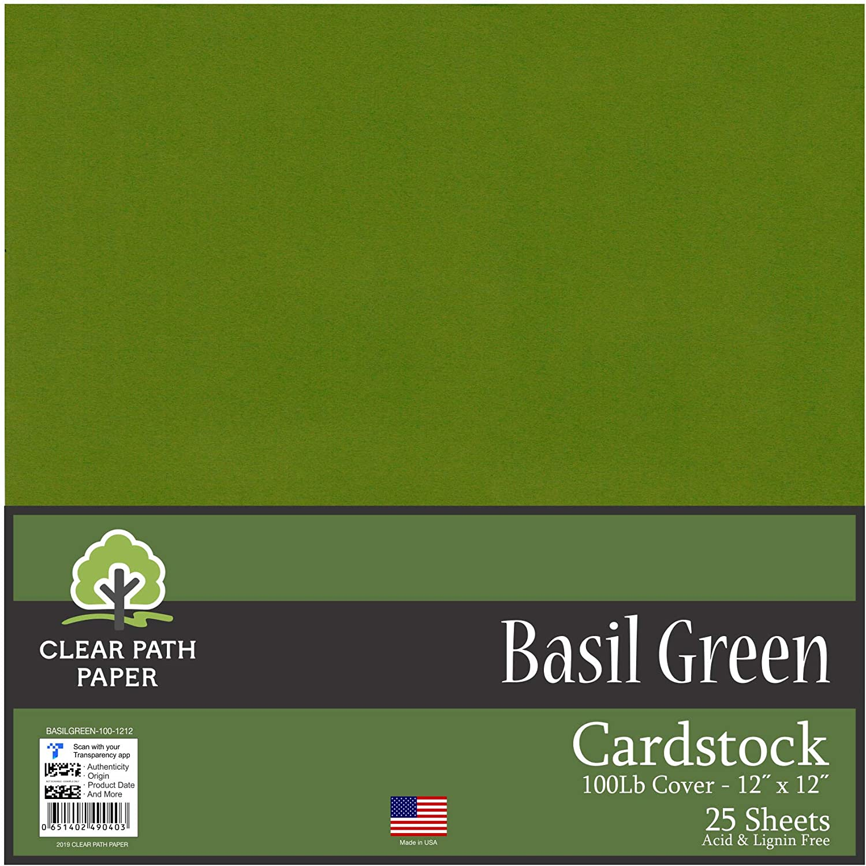 25 Pagine Clear Path Paper Cartoncino Verde Felce 100Lb Cover // 270g//m/² 12 x 12 inch // 30,5/cm/x/30,5/cm
