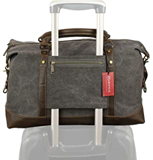 f6cea911e784 Weekender Duffel Bag Travel Tote - Canvas Genuine Leather Overnight Bag