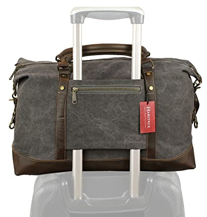 Image Unavailable. Image not available for. Color  Weekender Duffel Bag  Travel Tote - Canvas Genuine Leather Overnight Bag ebaafb3eda468