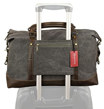 Amazon.com: Weekender Duffel Bag Travel Tote - Canvas Genuine ...