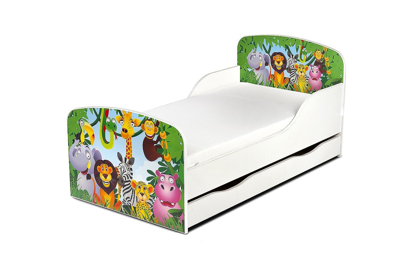 ... Cama Colchón y Cajón Cómodo Alta Validad Vuarto de Niños Muebles Para Niños Dormitorio Impresa Animales Zoo Jirafa Elefante León Mono: Amazon.es: Hogar