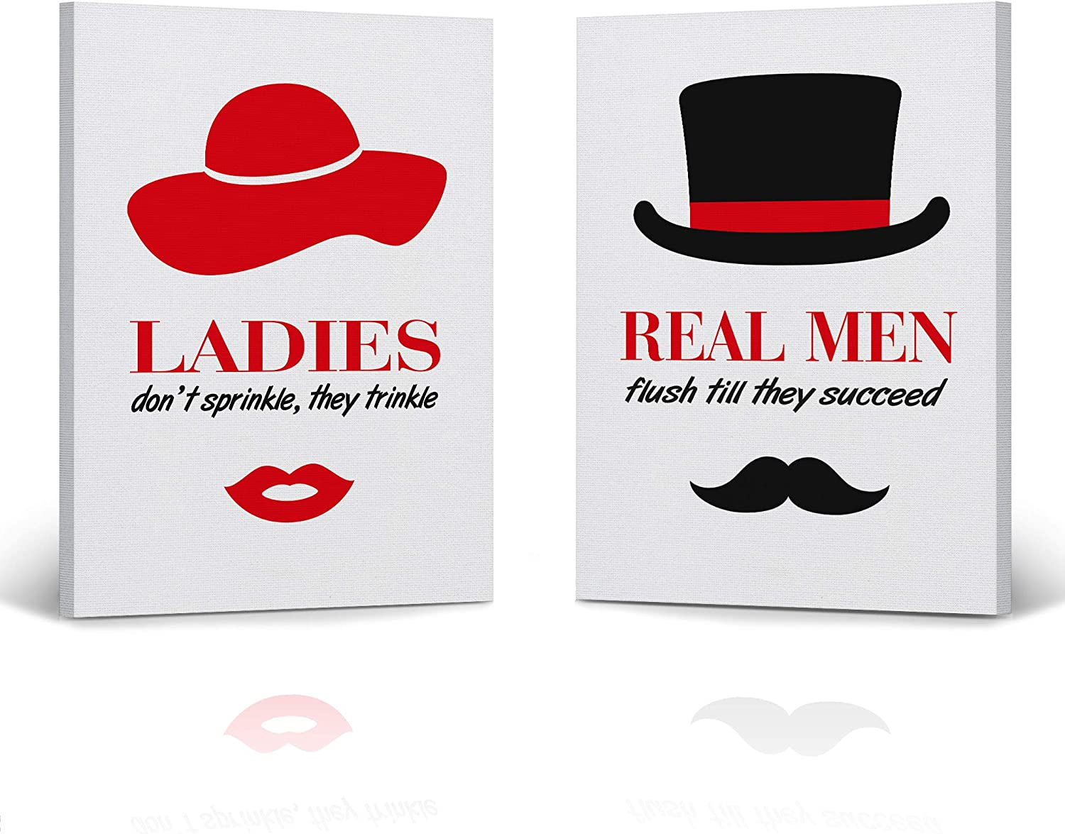 Amazon Com Hb Art Design Ladies And Real Men Bathroom Rule Sign Don T Sprinkle Funny Quote 2 Panel Canvas Print Set Wall Art Bathroom Decor Farmhouse Bathroom Sign Toilet Best Gift Ready To