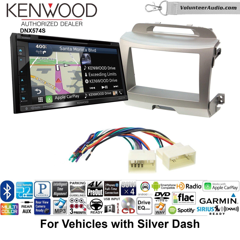 ボランティアオーディオKenwood dnx574sダブルDINラジオインストールキットwith GPSナビゲーションApple CarPlay Android自動Fits 2011 – 2014 Kia Sportage (シルバー) B07C1WBNPJ