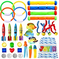 32 Pcs Diving Pool Toys Set with Bonus Storage Bag Includes Diving Rings, Diving Sticks, Toypedo Bandits , Diving Toy…