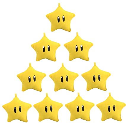 uiuoutoy Super Mario Bros. Super Star Starman 2.5 Plush Keychian 10 Pieces Set