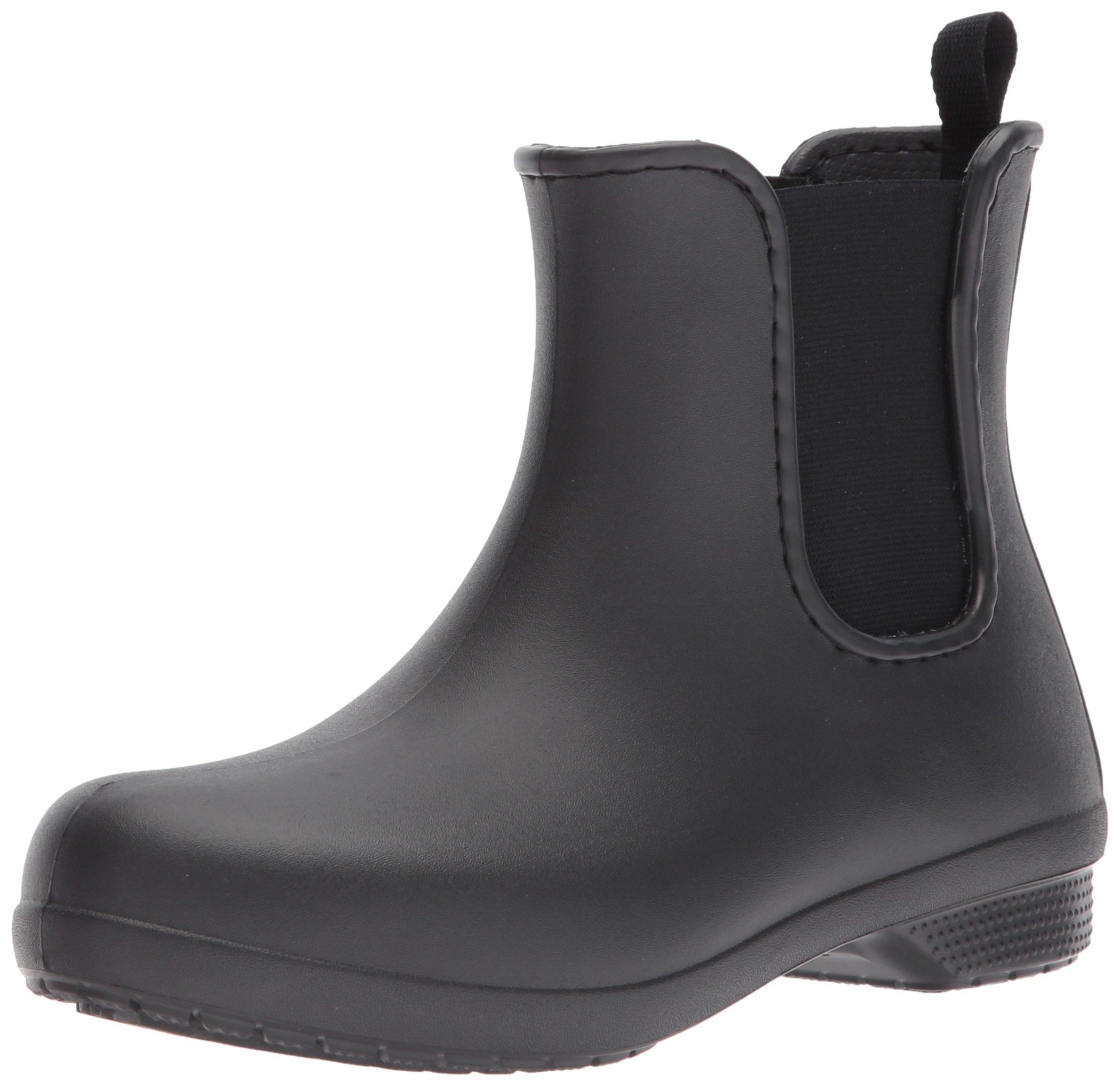 Crocs Women's Freesail Chelsea Rain Boot, Black/Black, 9 M US by Crocs