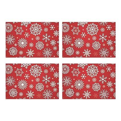 YaYa Cafe Christmas Decorations Table Place Mats Cloth Cover Snowflake - 4 Mats
