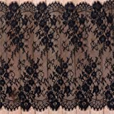 """3 Yards Eyelash Lace Fabric Floral Pattern Lace Trims for Sewing Dress Home Decor (29"""" W x 3 Yards, Black)"""