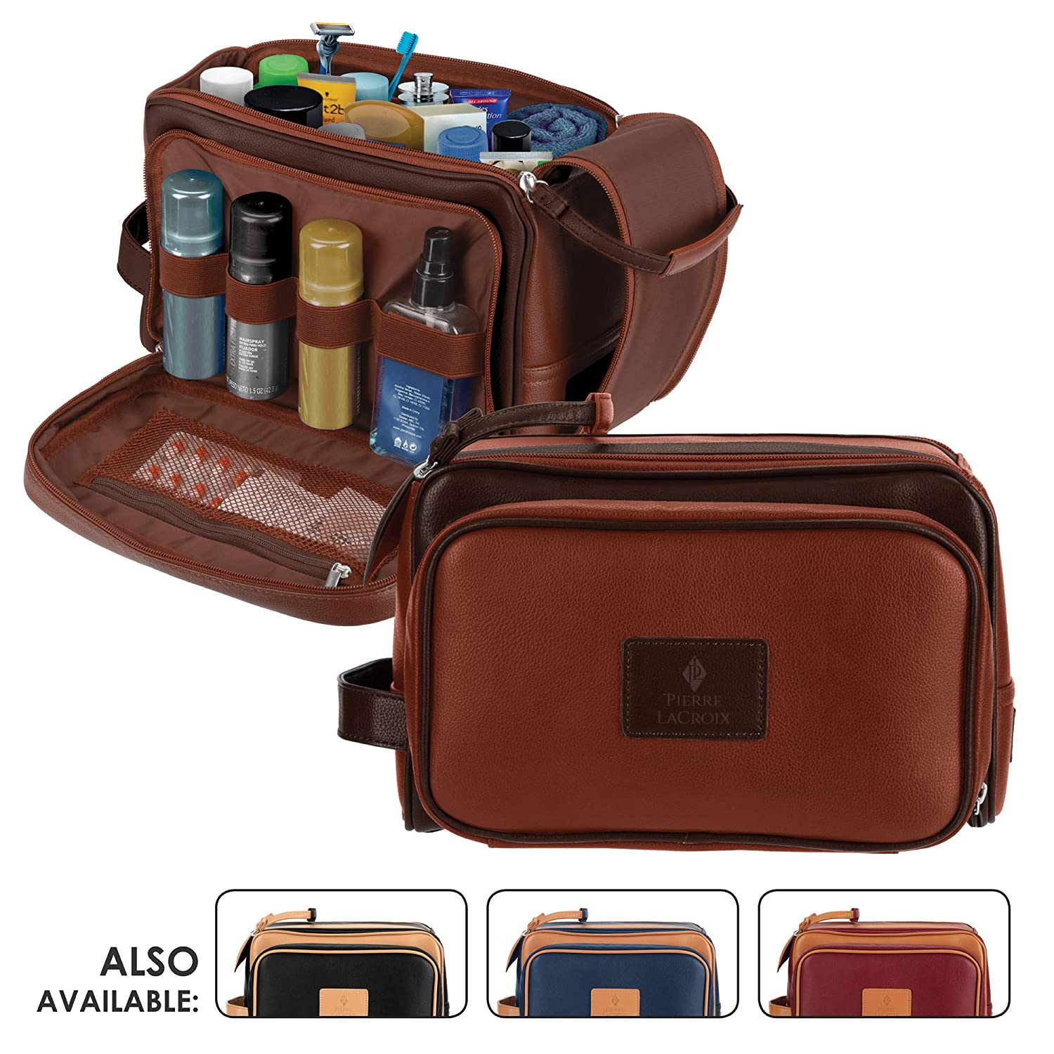 Cruelty-Free Leather Travel Toiletry Bag Dopp Kit by Pierre LaCroix Hand-Stitched Using Premium PU Leather and YKK Zippers Leak Proof 11 x7 x7