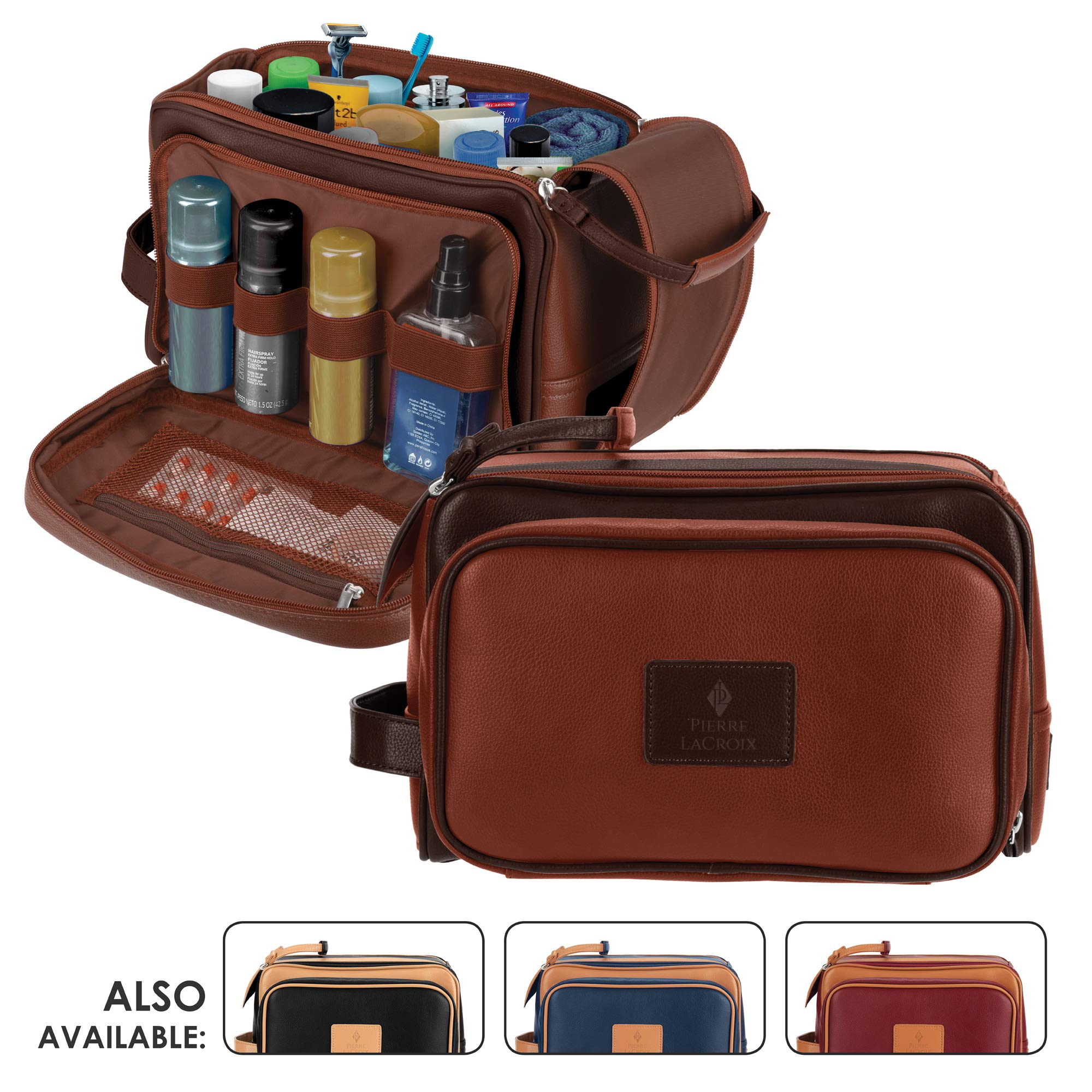 Cruelty-Free Leather Travel Toiletry Bag/Dopp Kit by Pierre LaCroix | Hand-Stitched Using Premium PU Leather and YKK Zippers | Leak Proof | (11''x7''x7'') by Pierre LaCroix