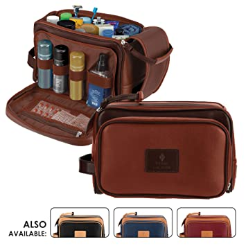 eee2e383cf Amazon.com   Cruelty-Free Leather Travel Toiletry Bag Dopp Kit by ...