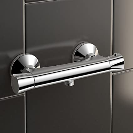 Modern Chrome Thermostatic Exposed Shower Bar Mixer Brass Diverter