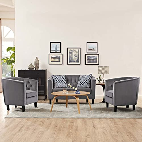Modway Prospect Upholstered Performance Velvet Living Room, Loveseat and Two Armchair Set, Gray