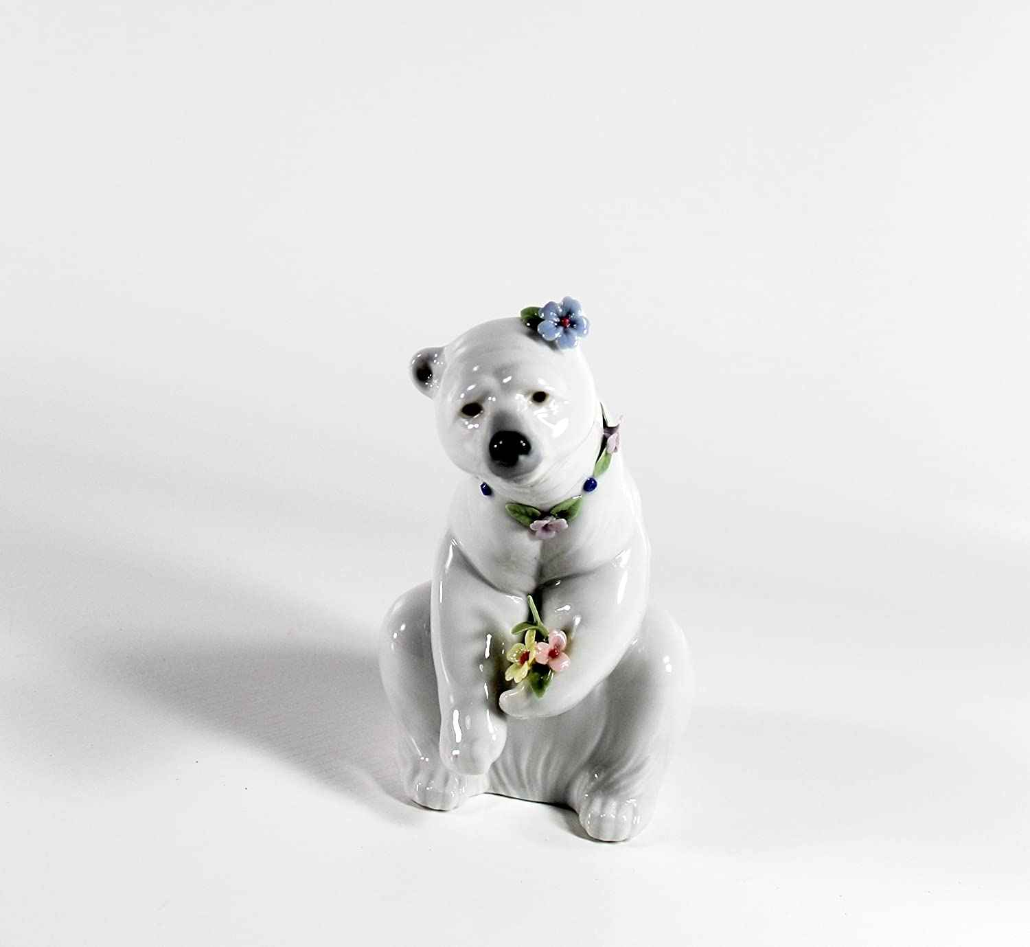 Lladro Polar Bear Resting With Flowers Collectible Figurine 06355 Retired Glazed Finish Home Kitchen