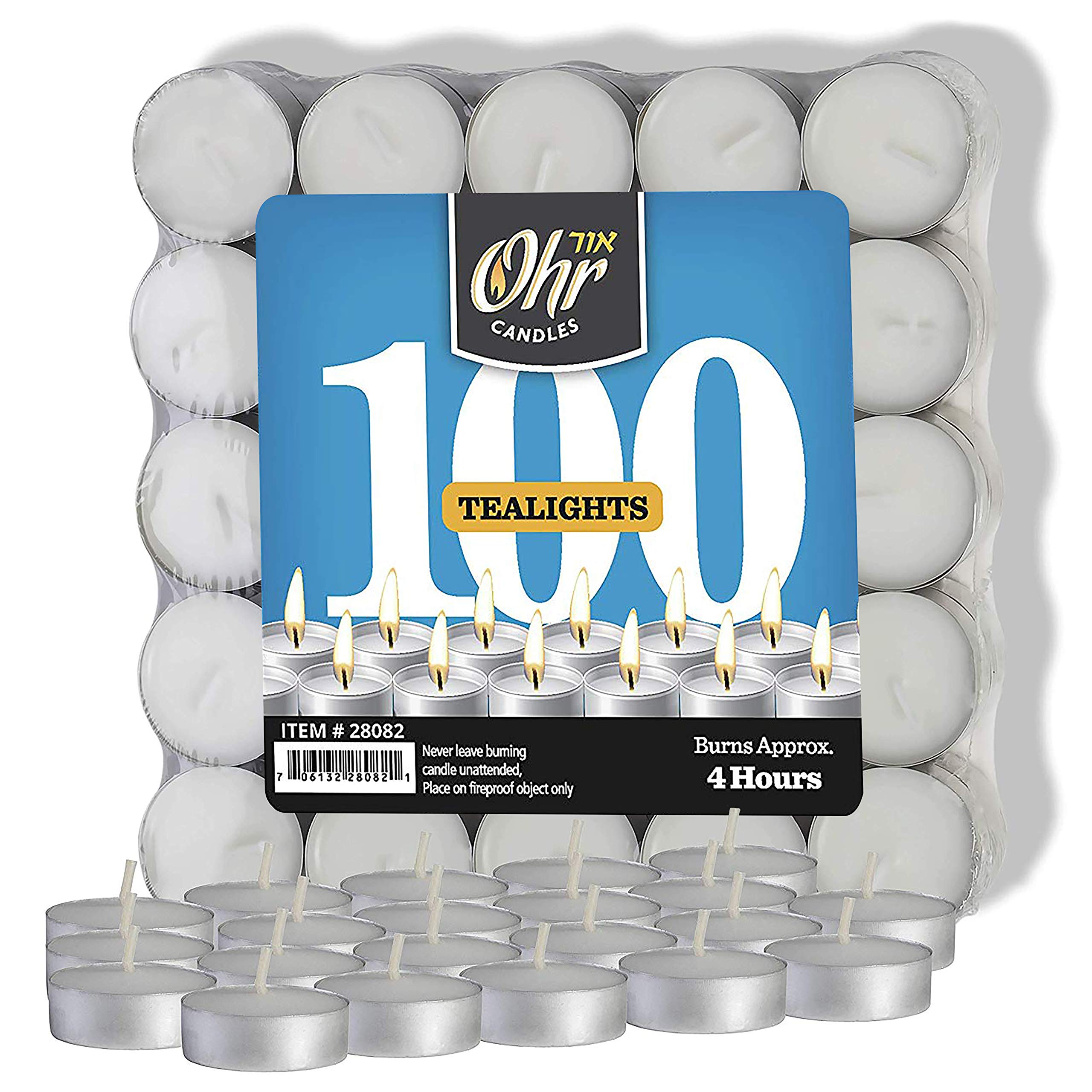 Ohr Tea Light Candles - 100 Bulk Pack - White Unscented Travel, Centerpiece, Decorative Candle - 4 Hour Burn Time - Pressed Wax - By