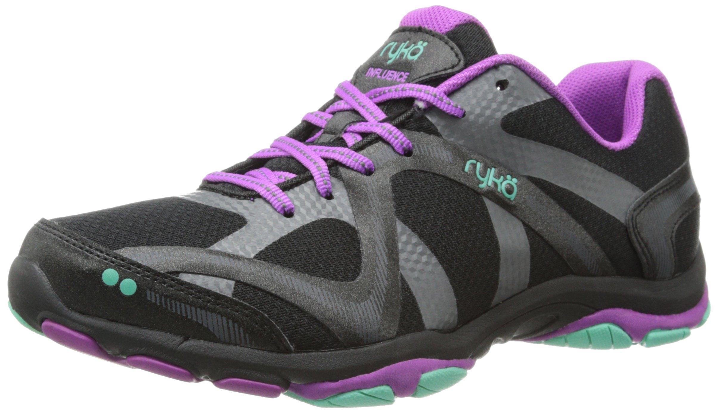 RYKA Women's Influence V 2 Training Shoe,Black/Sugar Plum/Vivid Aqua,7 M US