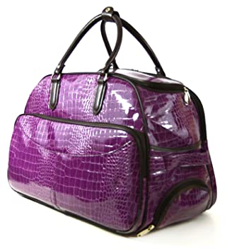 Purple Mock Croc Ladies Luggage Travel Trolley Bag/Cabin Bag ...