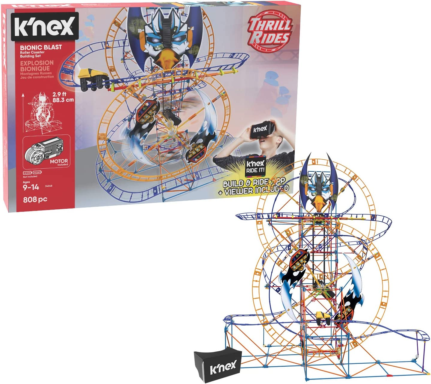K Nex Thrill Rides Bionic Blast Roller Coaster Building Set With Ride It App 809piece Ages 9 Building Set Toys Games