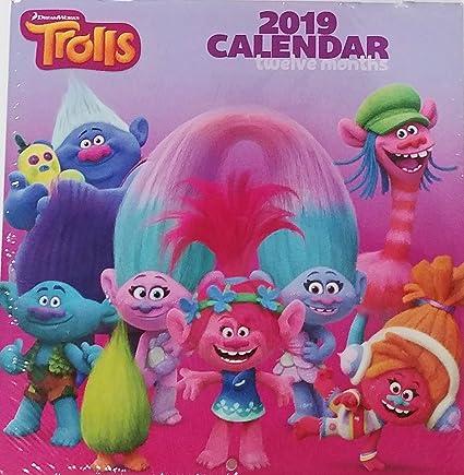 Trolls 2019 - Calendario mensual de 12 meses (25,4 x 25,4 cm ...