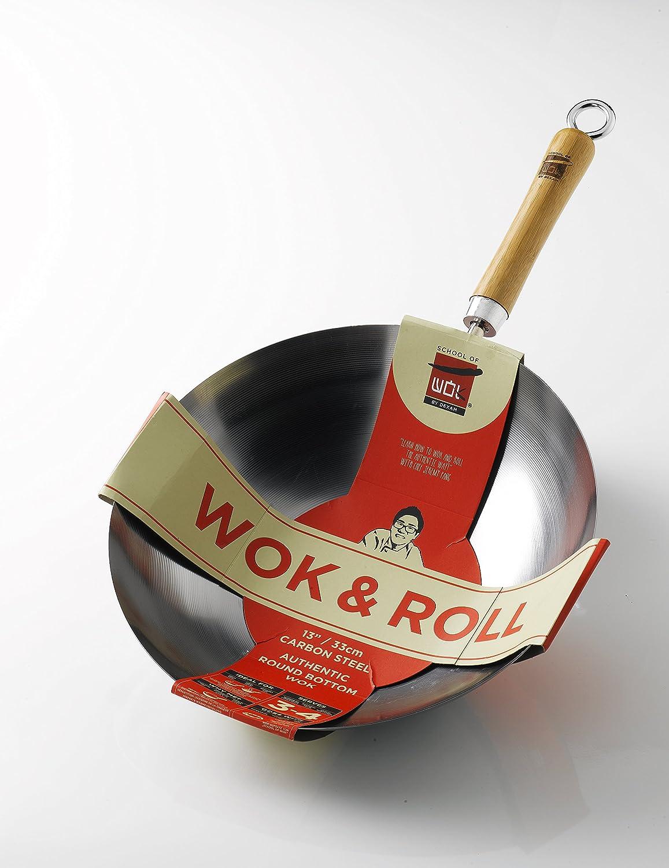30x52x18 cm Silver School of Wok Wok /& Roll 13 Non-Stick carbot Steel Round Bottom Wok