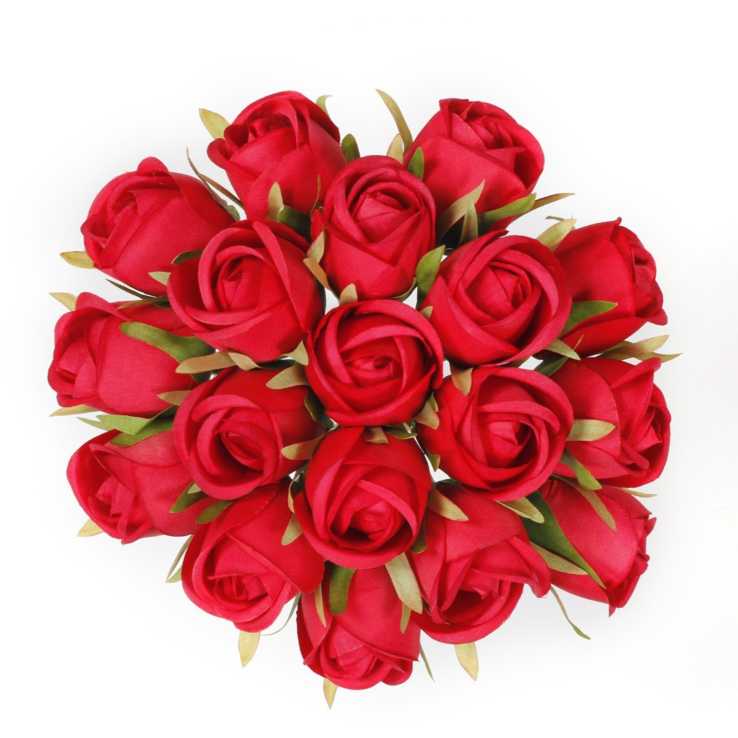 EPCTEK Red Silk Roses Faux Silk Roses Flowers 18pcs Bridal Roses Bouquets for Wedding Home Garden Party Decoration(Red)