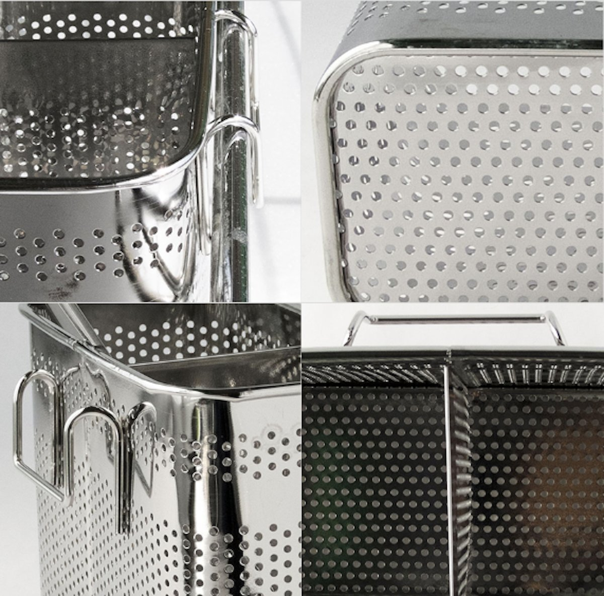 Basic pack Kitchen Utensils Chopsticks Holder Drying Rack Basket with Hooks 2 Divided Compartments Quality Stainless Steel Large L5.4 X H4.3 X W2.6