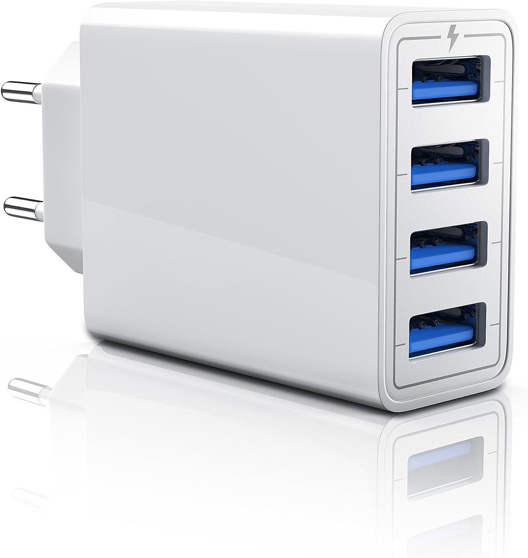 CSL-Computer 5A Cargador de Red Móvil USB 4 Puertos: Amazon.es ...