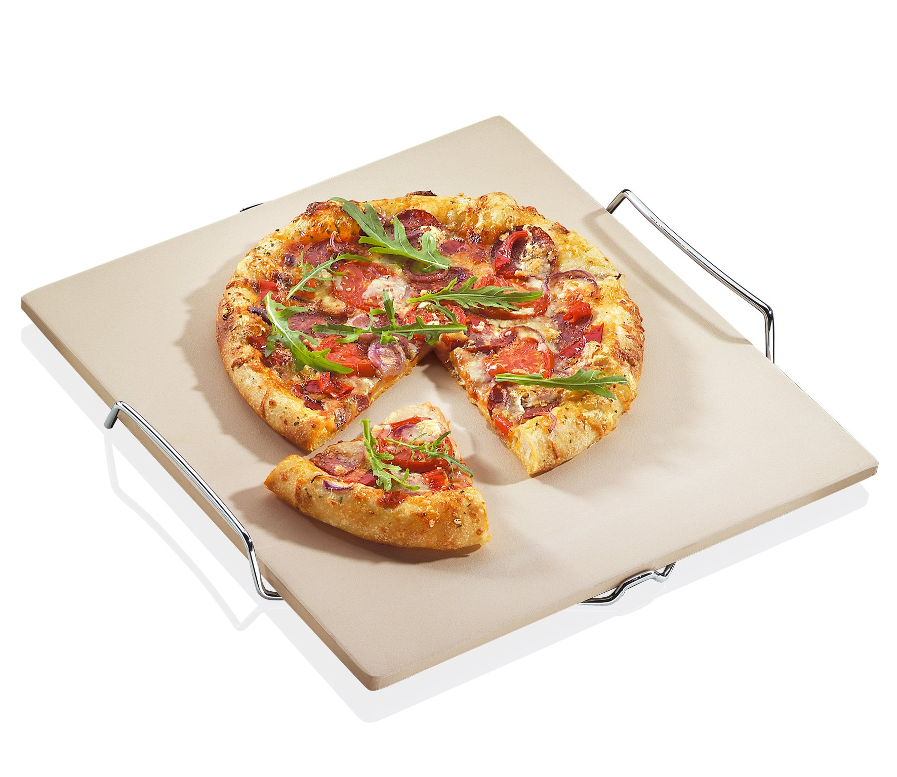 Kuchenprofi 15 by 14-Inch Pizza Stone with Stainless Steel Rack