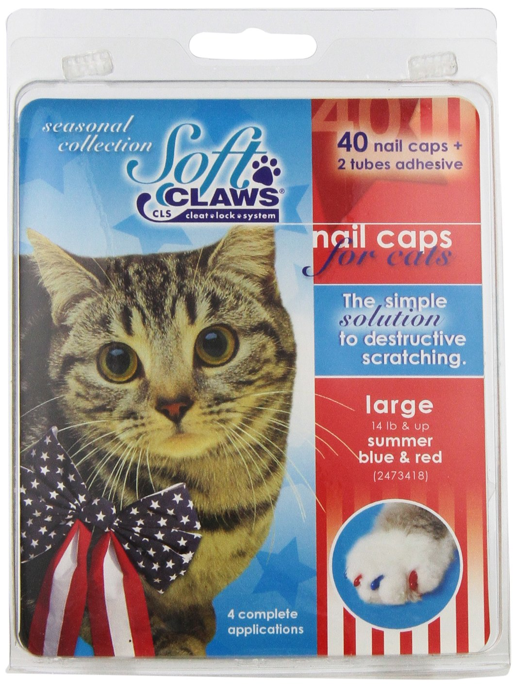 Red, bluee Large Red, bluee Large Soft Claws Feline CLS Summer Pack, Large
