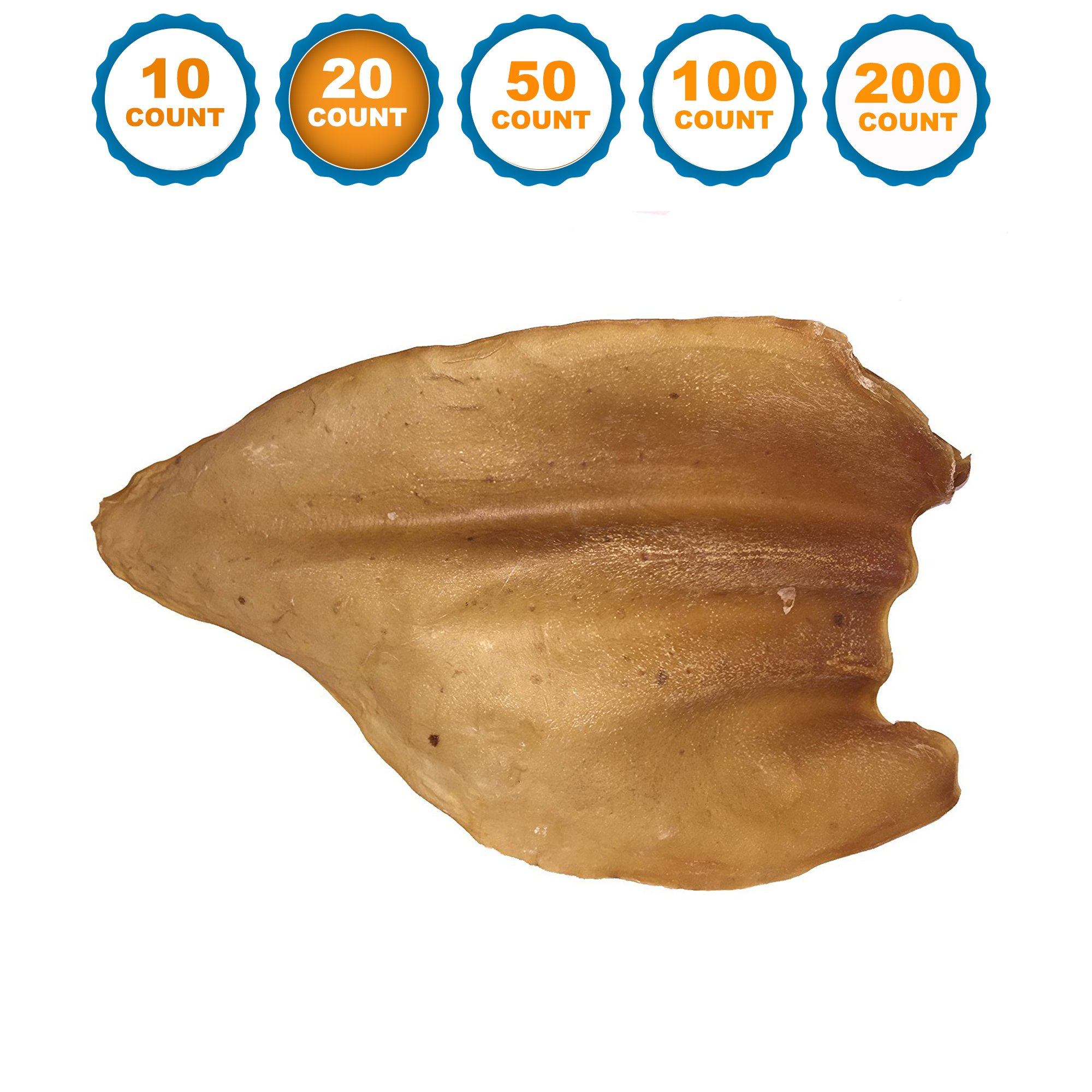 123 Treats Dog Chews Cow Ears (20 Count) 100% Natural Animal Ears From Free Range Grass Fed Cattle with No Hormones, Additives or Chemicals