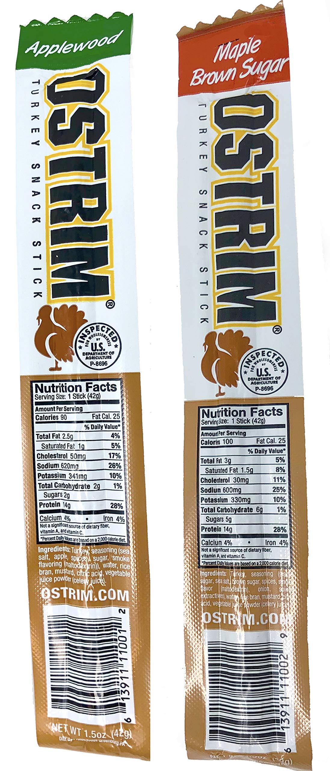 Ostrim Turkey Meat Snack Sticks - Maple Brown Sugar & Applewood - Pack of 20 (10 of each flavor)   by Ostrim (Image #3)