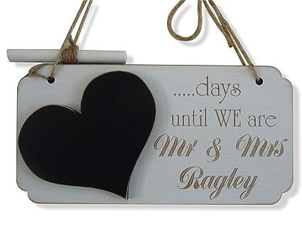 Personalizado boda cuenta atrás señal, hecho a mano placa de ...