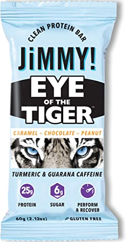 Jimmy Eye of The Tiger Protein Bar, Caramel Chocolate Peanut Flavor, 25g Protein with Guarana Caffeine and Turmeric, 12 Count, Packaging May Vary