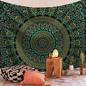 Mandala tapestry Hippie Room Decor tapestry Bohemian tapestries Wall Hanging boho wall tapestry for Bedroom Mystic Chakra Meditation Peacock Decor Tapestry Decoration for Living Room Backdrop Dorm (Round)